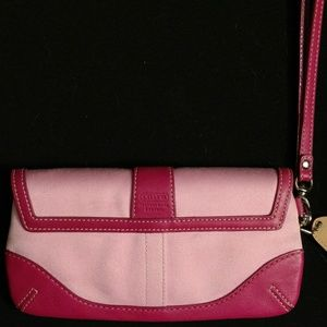 Coach Bags - Coach wristlet pink leather and fabric